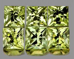 3.00 mm Square 6 pcs 1.03cts Greenish Yellow Sapphire [VVS]