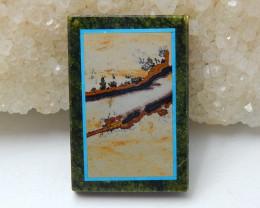 Natural Black Stone, Serpentine And Chohua Jasper Rectangle Intarsia Gemsto
