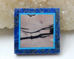 Natural Black Stone, Lapis Lazuli And Chohua Jasper Square Intarsia Gemston