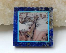 Natural Black Stone, Lapis Lazuli And Chohua Jasper Square Intarsia Gemston