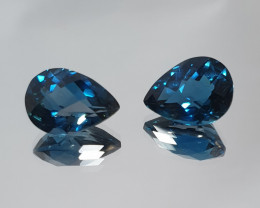 1 Pair Faceted Drops  11.85ct London Blue Topaz 13.5x9.7mm (SKU 103)