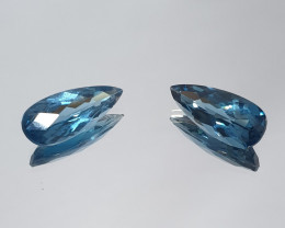 9.1 Ct 1 Pair London Blue Topaz Drop 18X7mm (SKU108)