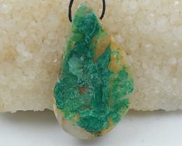91cts Chrysocolla Stone Pendant, Raw Chrysocolla Healing stone D147
