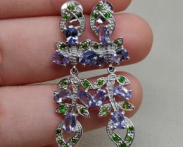 (B8) Superb Nat 29.15tcw Top Rich Violet Blue Tanzanite Chrome Diopside Ear