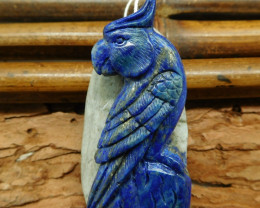 Natural stone lapis lazuli carved parrot bird craft (G0695)