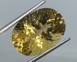 11.88 Carat VVS Quartz Golden Yellow Concave Brazilian Beauty !