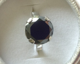 Black Diamond Solitaire Ring 6.50cts.