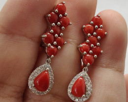 (B17) Dazzling 32.0tcw Natural Orange Coral & CZ Earrings