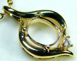 8x6mm 14k gold setting with diamonds OPJ 2152