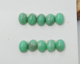 10pcs Semi Precious Tiny Green Chrysoprase Gemstone, Chrysoprase Cabochons