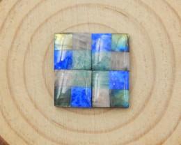 4pcs 18cts Beautiful Natural Gemstone Intarsia Cabochons D188