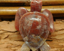 Natural gemstone red agate carved turtle bead (G0698)