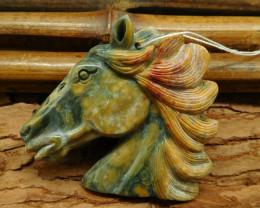Ocean jasper carved horse pendant (G0699)