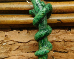 African jade carved snake pendant bead (G0701)
