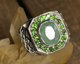 Sparkling Chrome Diopside Chrysoprase .925 Sterling Silver Ring 14kt Gold N