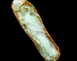 Burmese 3-Color Jadeite Jade Pendant Carved Chinese Phoenix