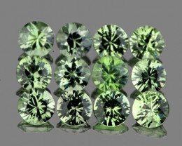 2.70 mm Round 12 pcs 1.22cts Green Sapphire [VVS]
