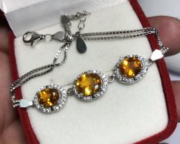 Natural Clinohumite With CZ Bracelet  32.40 carats From Tajikistan.