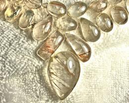 621 Tcw. Rutile Quartz White Gold / Silver Necklace - Gorgeous