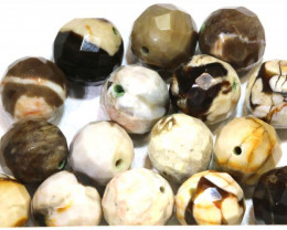 120.55 CTS PETRIFIED WOOD BEADS, (16PC)  NP-1011