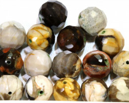 127 CTS PETRIFIED WOOD BEADS, (16PC)  NP-1012