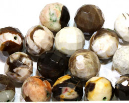 124  CTS PETRIFIED WOOD BEADS, (16 PC) NP-1018
