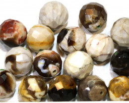 125.5 CTS PETRIFIED WOOD BEADS, (16 PC)  NP-1020