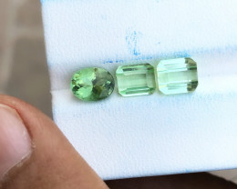4.10 Ct Natural Sea Foam Color Transparent Tourmaline Gems 3 Pieces