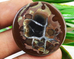 Genuine 25.00 Cts Black Septarian Agate Cabochon