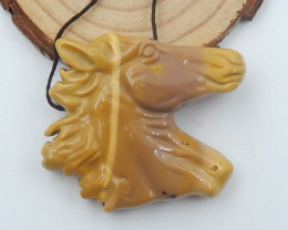Gemstone carved horse pendant mookite horse jewelry D201