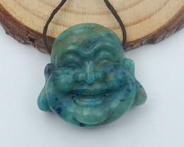 Natural Chrysocolla Buddha Head Beads, Buddha Jewelry, Jewelry Findings D20