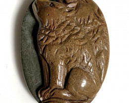 Wolves Carved in Jasper - large Cameo piece in natural stone