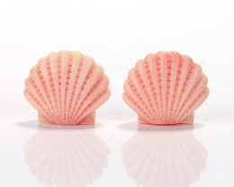 New Arrival Pink Conch Shell Carved Shell Earrings beads, 24X21X10mm H7129
