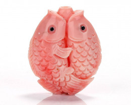 New Arrival Pink Conch Shell Carved fish Pendant Bead, 27x24x11mm H7126