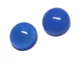 1.90cts  Matching Round Blue Chalecedony Cabochons 2pcs