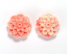 New Arrival Pink Conch Shell Carved flower Earrings beads H7128
