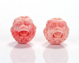 New Arrival Pink Conch Shell Carved lion head Earrings beads H7127