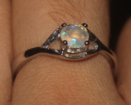 Natural Ethiopian Welo Opal 925 Silver Ring Size (7 US) 55