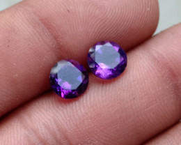 AMETHYST PAIR TOP QUALITY GENUINE GEMSTONES 7mm Round VA420