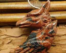 Natural mahogony obsidian wolf pendant (G0724)