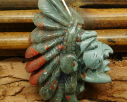 African bloodstone native american face head pendant (G0725)
