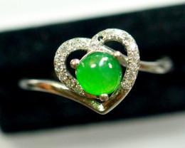 Natural Grade A Jadeite Jade Cabochon 925 Silver Ring
