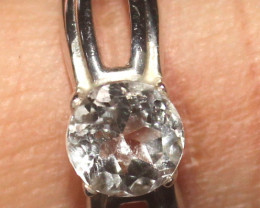 Natural Faceted White Topaz 925 Silver Ring Size (7 US) 114