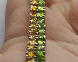 (6) Brilliant Natural 70.0tcw. Peridot citrine Bracelet