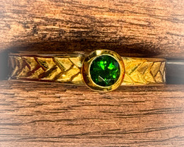 Fabulous Chrome Diopside .925 Sterling Silver Gold Ring No Reserve