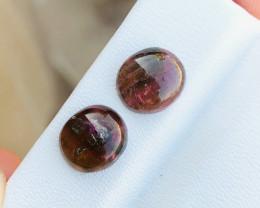 5.40 Ct Natural Bi Color Transparent Tourmaline Cabs Pairs