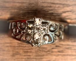 Fine Smoky Quartz Cross 925 Sterling Silver Ring No Reserve