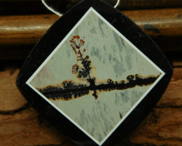 Chouhua jasper obsidian pendant bead (G0736)