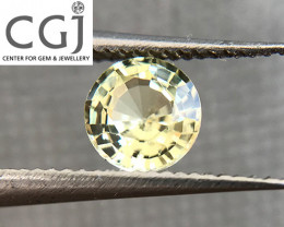 Certified - 0.51ct - Untreated Greenish Yellow Sapphire