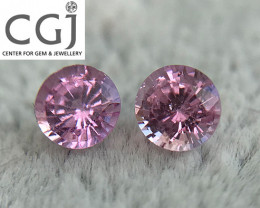 Certified - 0.84ct - Untreated Pink Sapphire Pair